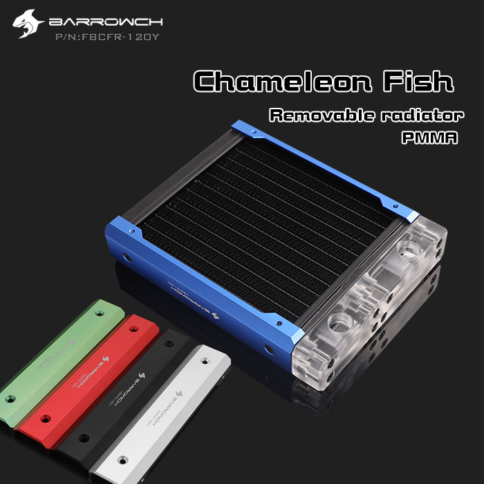 Barrowch FBCFR 120 Chameleon Fish Modular 120mm Radiators Acrylic POM Removable Radiators Suitable For 120mm Fans
