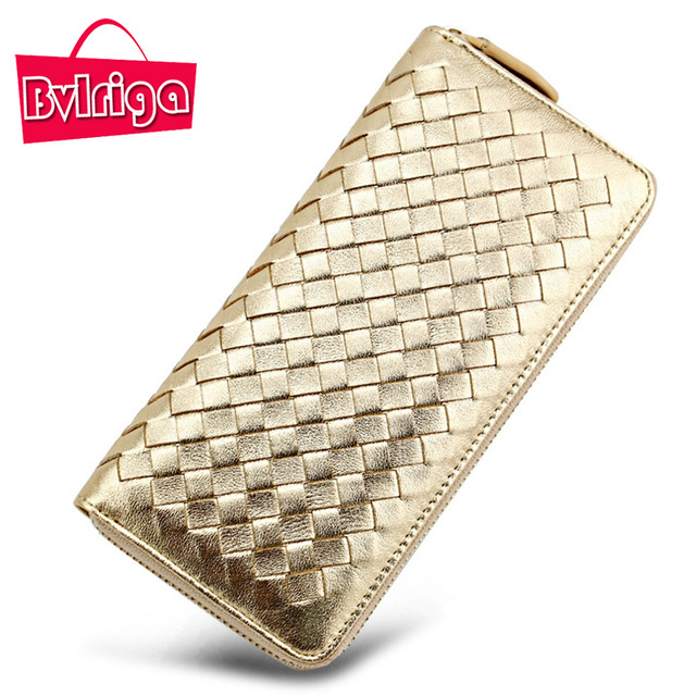 BVLRIGA Brand Luxury Genuine Leather Women Wallet Female Purse Weave Credit Card Holder Gold Clutch Phone Holders Money Bag 2018