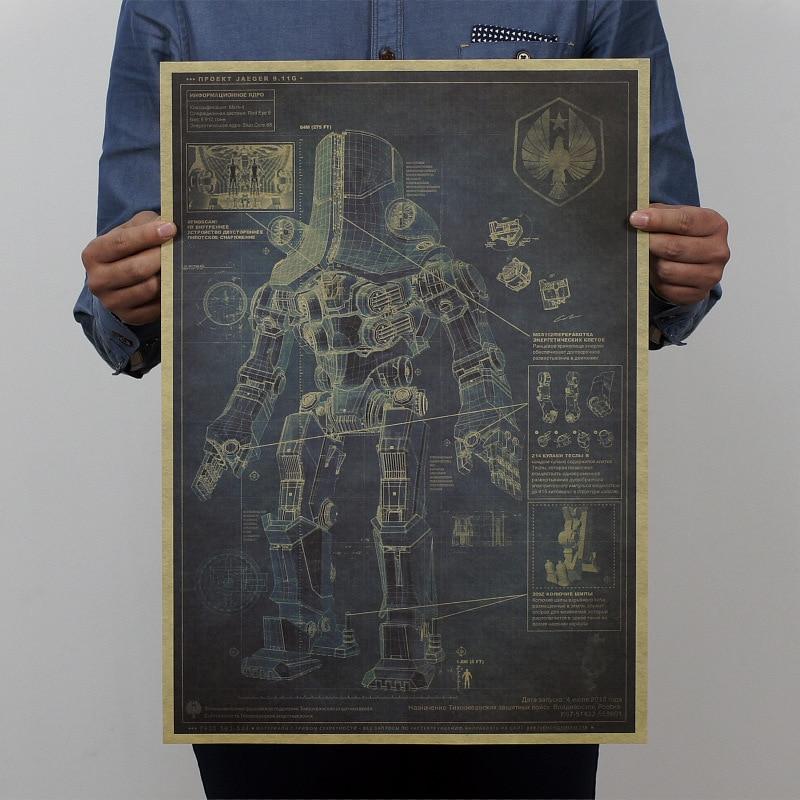 Pacific Rim Cherno Alpha Mech Warrior Robot design drawings pating bar pub home wall decor retro art Poster 51*35.5cm