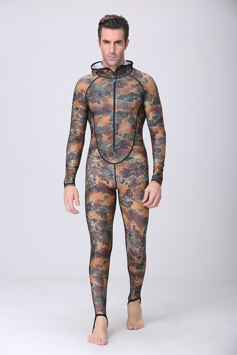 Dive&Sail UPF50+ Camouflage Snorkeling Dive Skin Adult Rash Guards One-piece With Hood Jump Stinger Suit Men WomenFree Shipping