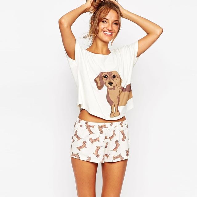 Sueltos pantalones de Pijama Establece Las Mujeres Algodón Dachshund Lindo Imprimir 2 Unidades Set Crop Top + Pantalones Cortos de Cintura Elástica Más El Tamaño XS-XL S6706