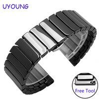 Für huawei watch 2 ersatz strap 20mm qualität keramik armband quick release schwarz weiß armband-in Uhrenbänder aus Uhren bei