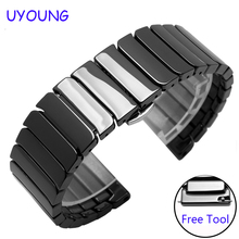 For Huawei watch 2 replacement strap 20mm quality ceramic watchband quick release black white bracelet