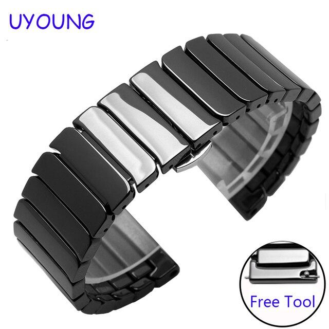 用huawei watch 2交換ストラップ20ミリメートル品質セラミック時計バンドクイックリリースブラックホワイトブレスレット