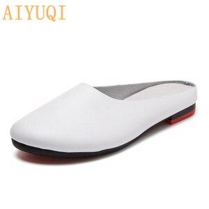 Image 1 - AIYUQI Frauen Hausschuhe 2020 Frühling Neue Echtem Leder Frauen Schuhe große Größe 41 42 43 Flache Beiläufige Sommer Halb Hausschuhe frauen
