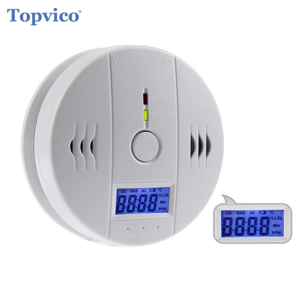 Topvico Wireless CO Carbon Monoxide Gas Detector Sensor Alarm Sensitive 4 Numbers Digital LCD House Home Security System Alarm