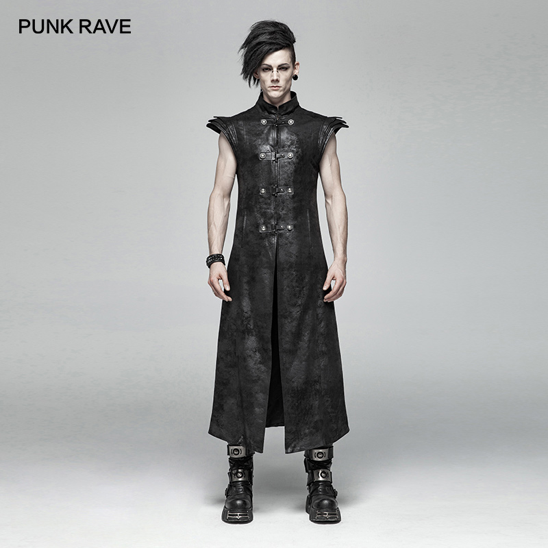 PUNK RAVE Mens Punk Vest Armor Jackets PU Leather Long Stand Collar Hip Hop Streetwear Stage Performance Personality Waistcoat