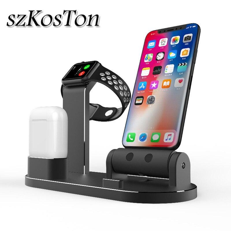 3 en 1 support de Dock de chargement pour Iphone XS XR 7 8 6 6 S plus Station de Dock de support de chargeur en métal pour Apple Watch 1 2 3 4 Airpods