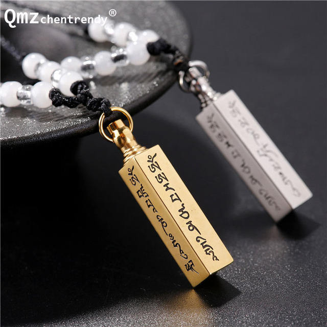 stainless steel can open buddhism faith jewelry sanskrit mantra