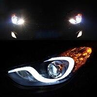 Car Styling DRL Set LED Headlight Headlamps Left Right Pair For 2011 2012 2013 Hyundai Elantra