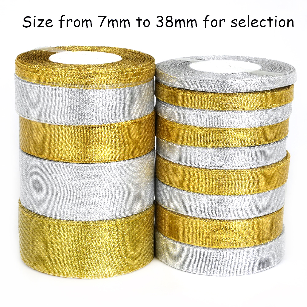 2018 золото/серебро органза лента мм 7-38 мм блеск вышитые ленты для свадебного торта подарок украшения DIY Craft поставки