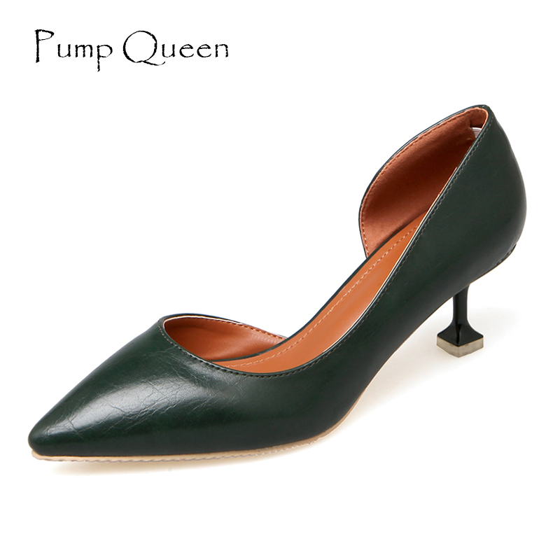 Women Pumps Black Heels Super Elegant Ladies Shoes Green Leather Pointed Toe Beige Dresses Heels Female Footwear Large Size 40 footwear women pumps fashion shoes sexy elegant squaretoe slip on med heels office lady woman shoes black beige red green color