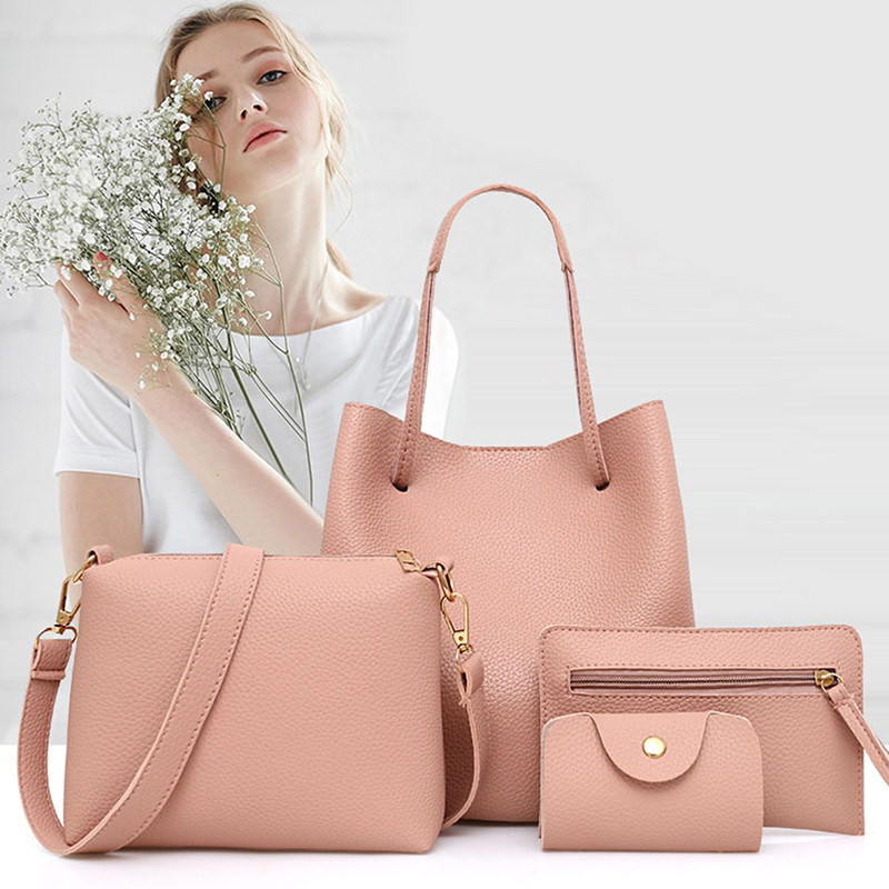 4pcs/set Composite Bags Messenger Ladies Crossbody Bag Handbag Leather Clutch Bags Mini Wallets Purse Women Luxury Shoulder Bags