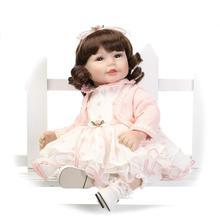 52CM Shoulder Length Curly Hair Reborn Toddler Baby Girl Doll Princess Girl Doll in Pink Dress Girls Toys Birthday Xmas Gifts