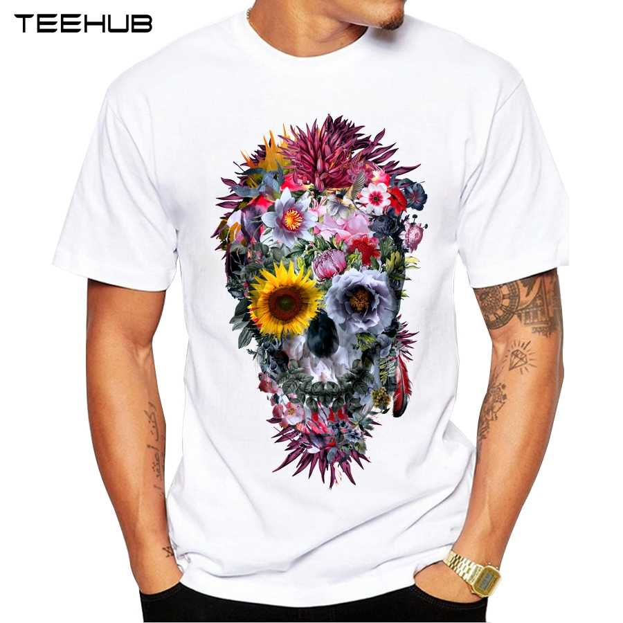 2019 Pria T Shirt Fashion Voodoo Tengkorak Desain Lengan Pendek Atasan Kasual Hipster Bunga Tengkorak Dicetak T-shirt Keren Tee