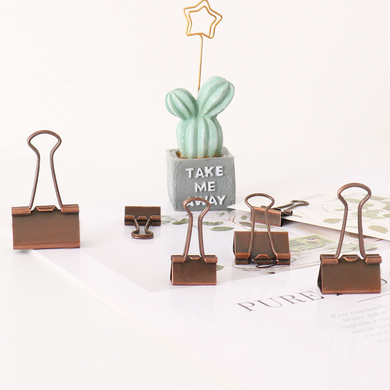 TUTU 10 Pcs/lot 19mm 25mm 32mm Bronze Binder Clips Paper Clip Clamp Office School Binding Supplies H0287