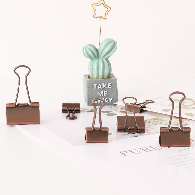 TUTU 10 Pcs/lot 19mm 25mm 32mm Bronze Binder Clips Paper Clip Clamp Office School Binding Supplies H0287