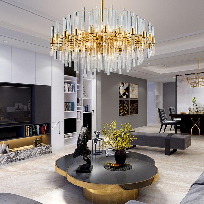 Lighting Hong Kong-style lamps postmodern light luxury restaurant living room lamp duplex building designer crystal chandelier 自宅 ワイン セラー