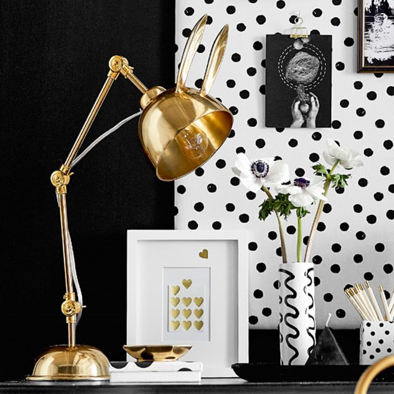 Nordic New classical creative LED table lamps Rabbit model gold luxury plated home decoration bedroom bedside read lamp lighting in LED Table Lamps from Lights Lighting