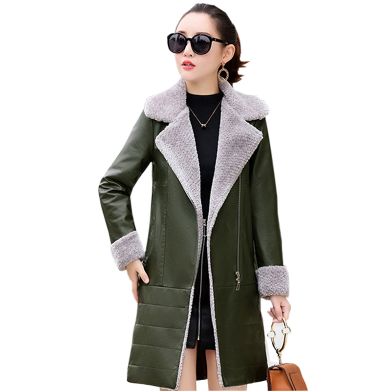 Faux   Leather     Suede   Jacket Women Thick Coat Long Slim Pu   Leather   Female Winter Outerwear Coats Casual Warm Ladies Jacket FP0172