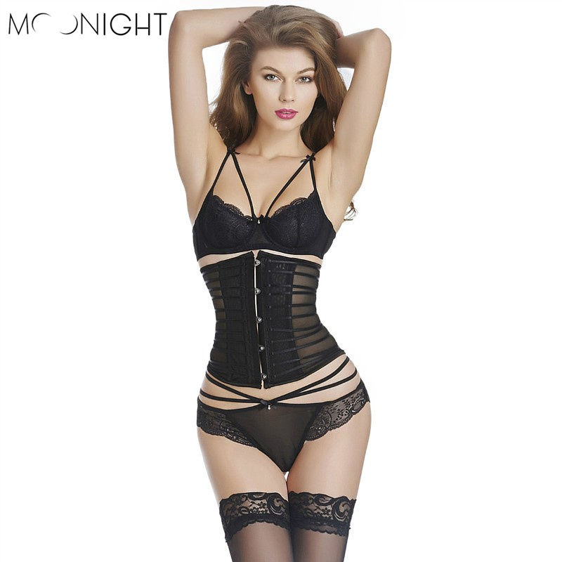 MOONIGHT Black Sheer Underbust Sexy   Corset   Transparent   Bustiers   &   Corsets   For Women S-2XL   corset