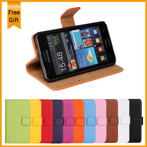 Luxury Stand Wallet Genuine Leather Case For Samsung Galaxy S2 SII i9100 Phone Bag Cover Book Flip with Card Slot Holder