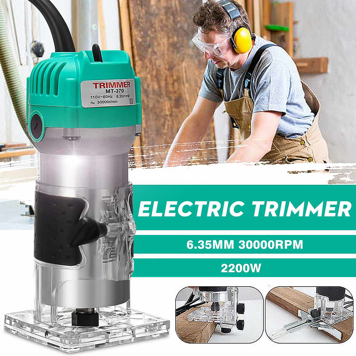 30000RMP 2200W 1/4 Inch Corded Wood Laminate Router Electric Hand Trimmer Woodworking Power Tool With 60inch Cable30000RMP 2200W 1/4 Inch Corded Wood Laminate Router Electric Hand Trimmer Woodworking Power Tool With 60inch Cable