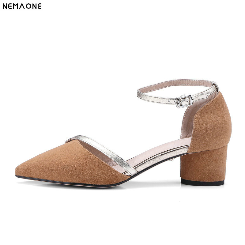NEMAONE genuine leather women ned heels work shoes female pumps poined toe ankle strap shoes woman ladies dress wedding shoes famiao 2018 women pumps ankle strap thick heel women shoes square toe mid heels dress work pumps comfortable ladies shoes