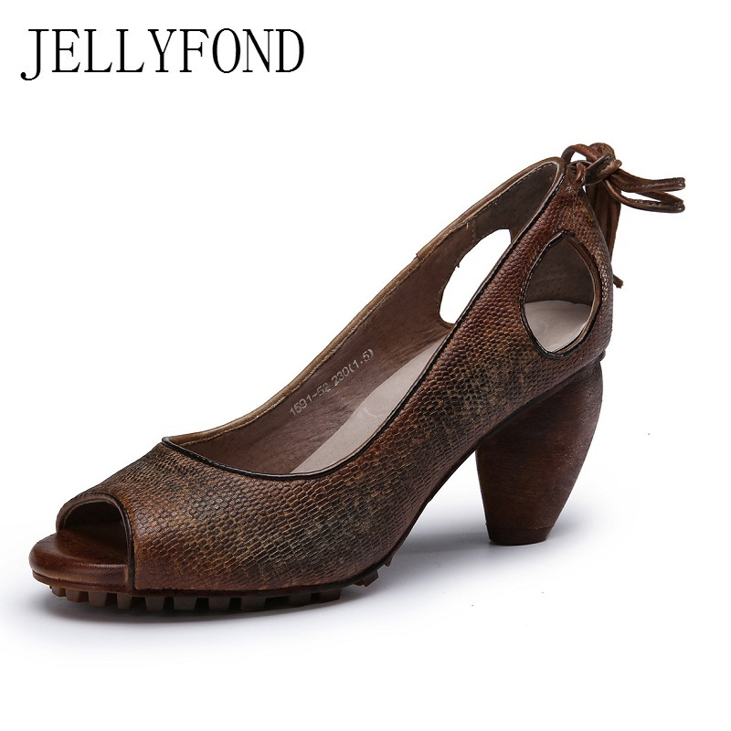 JELLYFOND Vintage Style Peep Toe High Heels Gladiator Sandals Genuine Leather Tassels Sandals Handmade Summer Shoe Woman цены