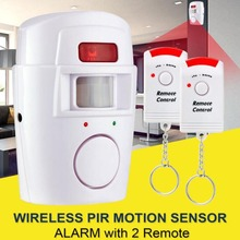 PIR Motion Sensor Alarm Wireless Home Garage Caravan 2 Remote Controls Security PIR Motion Detectors for Home Caravans цена