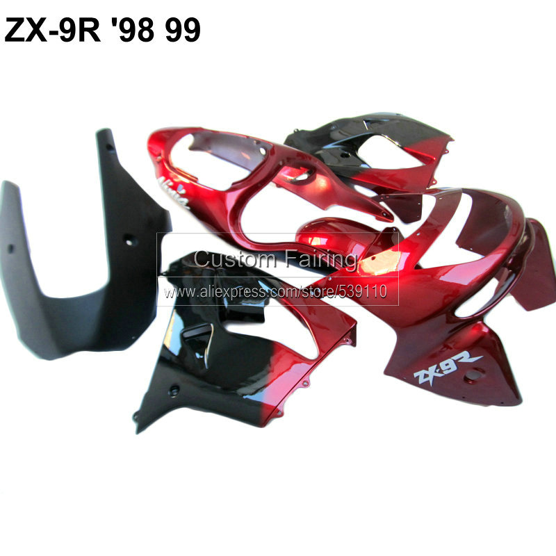 Motorcycle fairining kit for Kawasaki ZX9R zx 9r 1998 1999 Ninja 98 99 wine red black fairing kit xl06