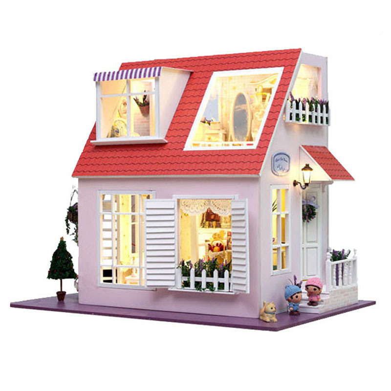 13822 large DIY dollhouse wooden miniature villa Miniature Wooden Building Model Furniture Model For child Toys Birthday Gifts d030 diy mini villa model large wooden doll house miniature furniture 3d wooden puzzle building model