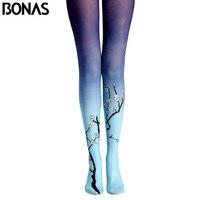 BONAS Plum Flower Pantyhose Tights New Arrival Print Stockings Leggins Women Winter Cotton Compression Pantyhose Gradient
