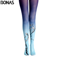 BONAS Plum Flower Pantyhose Tights New Arrival Print Stockings Leggins Women Winter Cotton Compression Pantyhose Gradient