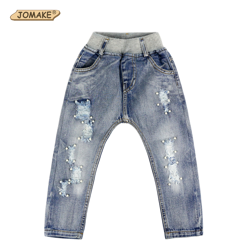 2017 New Style Kids Jeans Girls Trousers Spring Fashion Designer Children Denim Pants Casual