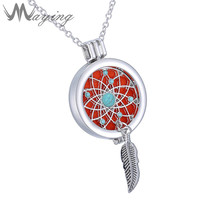Chic Aromatherapy Essential Oil Diffuser Locket Turquoise Feather Chain Necklace with Multi Color Pads Pendant Jewelry For Women