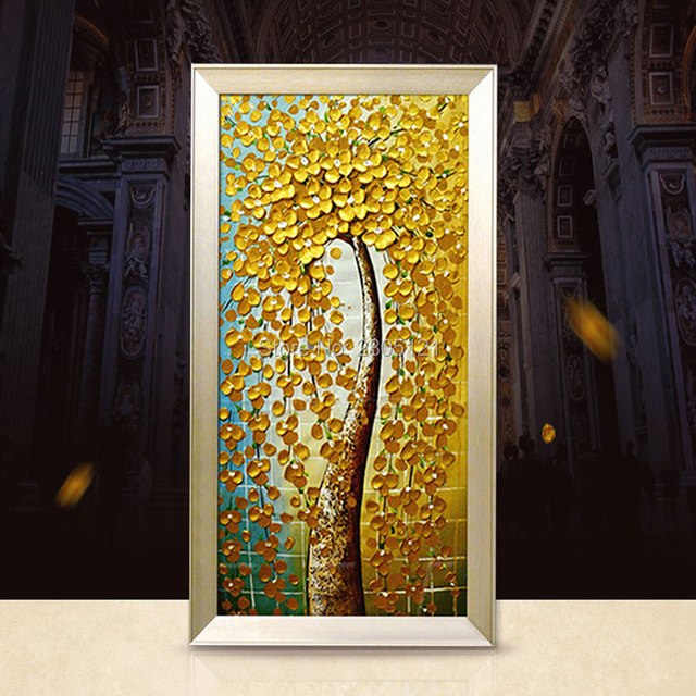 Hand Painted thick Knife oil painting gold golden flowers tree ...