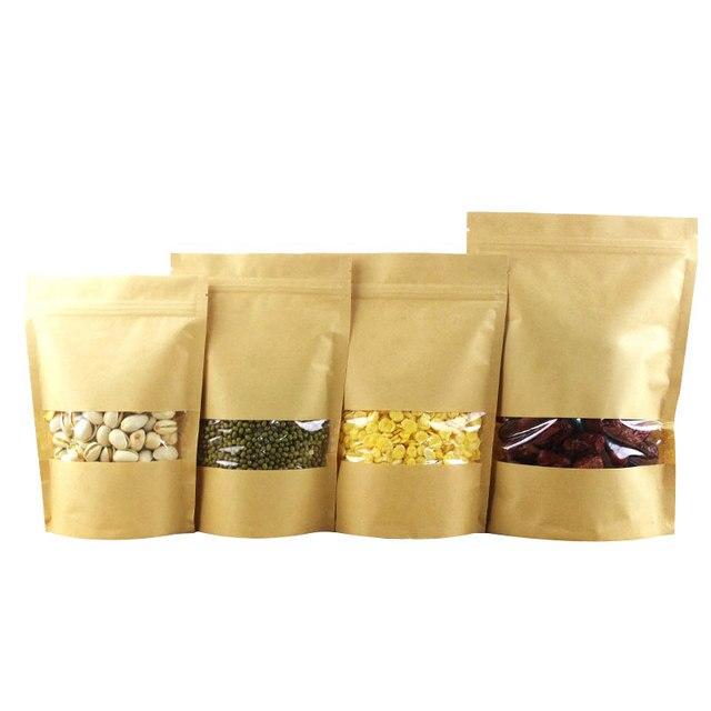 10 piezas bolsa de papel de Kraft marrón ventana pan de la comida de fiesta de té de frutas de regalo bolsa auto-Sellado Boutique cremallera bolsa de pie