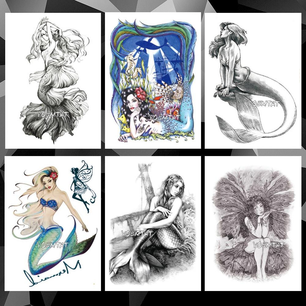 Underwater World Mermaid Waterproof Temporary Tattoo Sticker Wishing Elf Flash Tattoos Body Art Arm Fake Tatoo