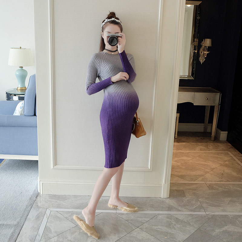 Make more winter fashion knitting maternity dress render han edition mom gradient even clothes han edition spot qiu dong the day han2 ban3 girl gradient fashionable joker knitting wool hat
