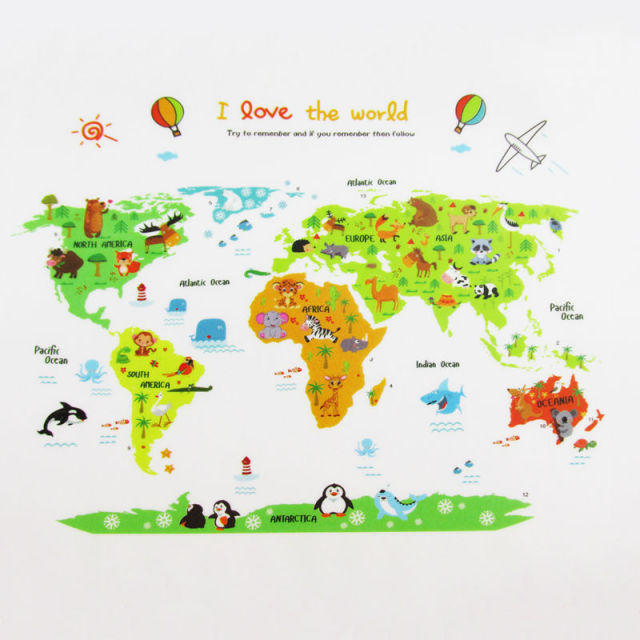 Colorful World Map Wall Sticker Decal Vinyl Animal Cartoon Wall - World map wallpaper decal
