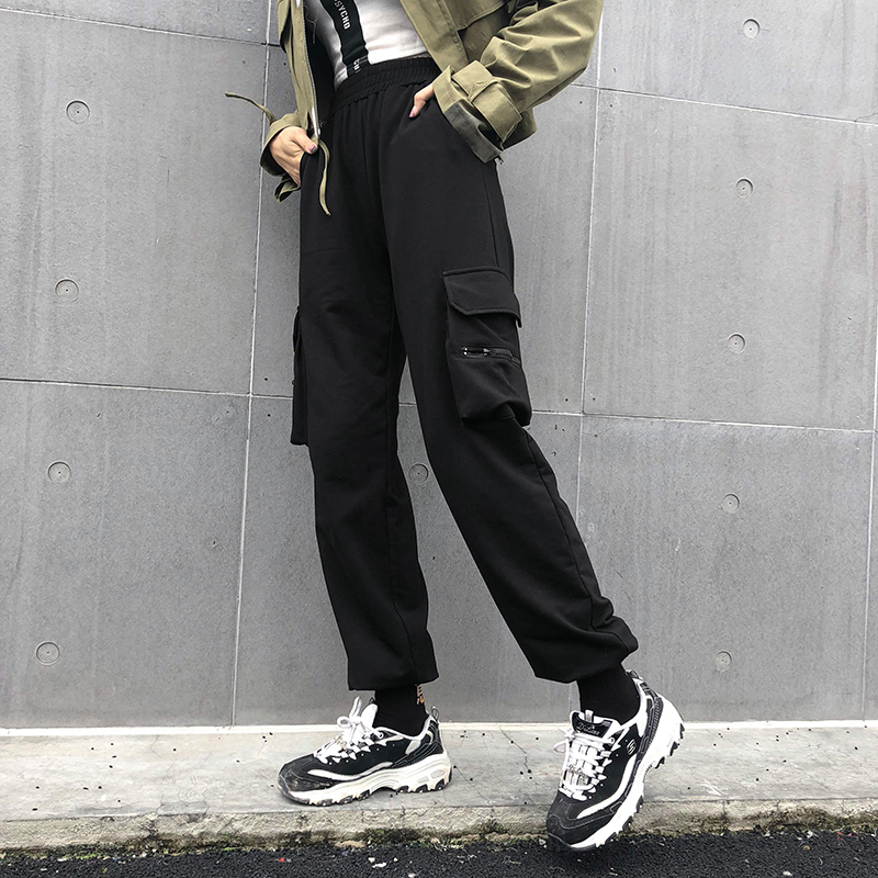 New High Waist Cotton Women Sweat Pants Packets Loose Zipper Trousers Hip Hop Elastic Waist Streetwear Pant Capris cuteandpsycho