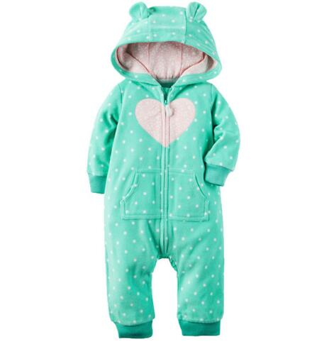 2018 Autumn Winter baby   rompers   Cartoon Hooded Fleece baby boy girls clothes costume Newborn babies boys jumpsuits