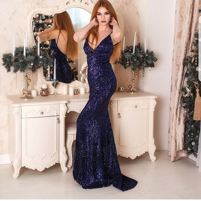 Navy Blue Sequined Maxi Dresses V Neck Party Dress Backless Bodycon Mermaid Dress Elegant Floor Length