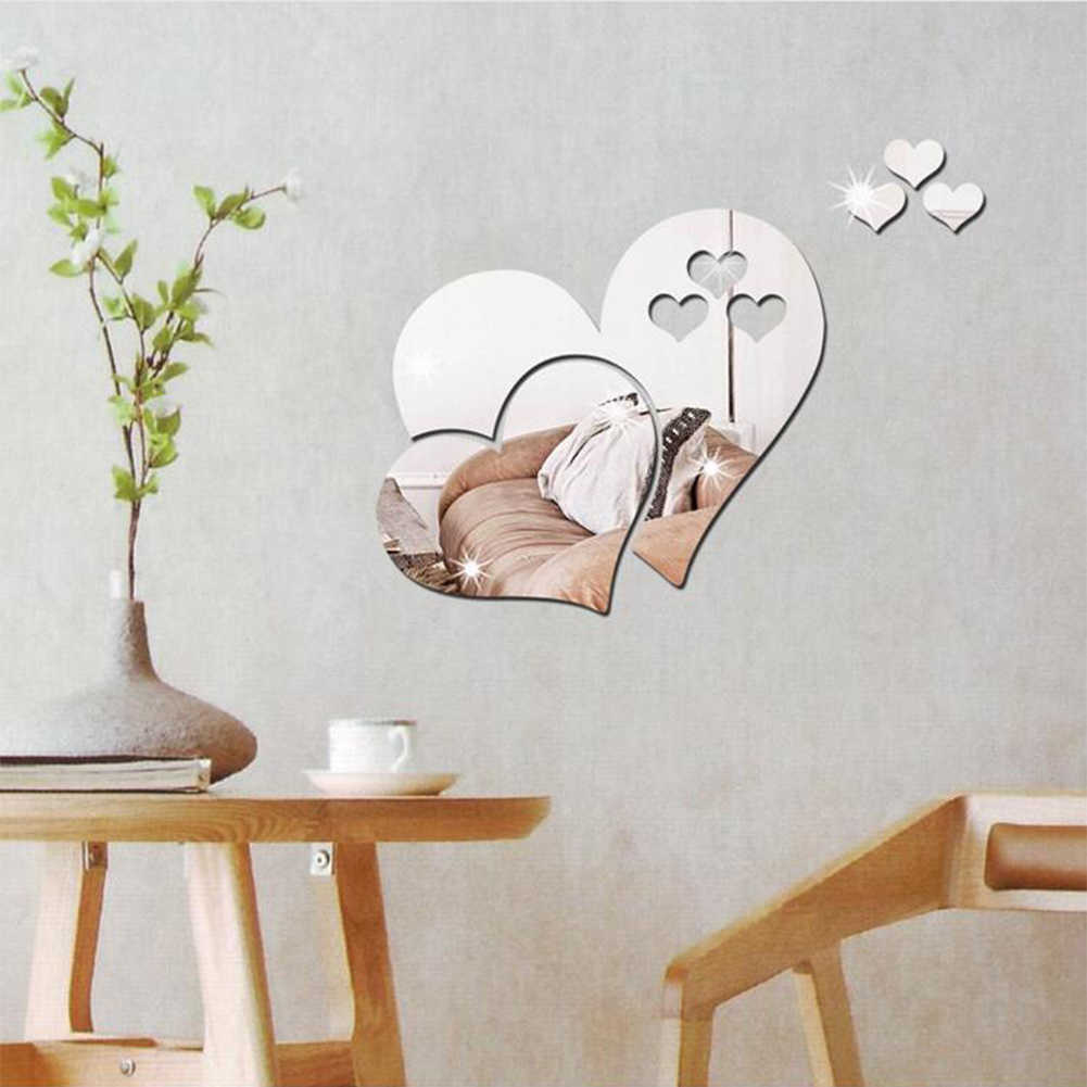 Living Room Hotel Love Heart Wedding Mirror Wall Sticker Home Decor Modern Removable Art Decal 3D Shopping Mall DIY Bedroom