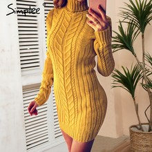 9d7178060c7 Simplee Casual twist turtleneck knitted sweater dress Plus size o neck bodycon  sexy dress female 2018 Autumn winter pullover
