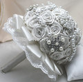 Hand Made Top Quality Luxurious Brooch Bride Bridal Wedding Bouquet Brides Maid Europe Us Red Silver Artificial Flower Sp8567s