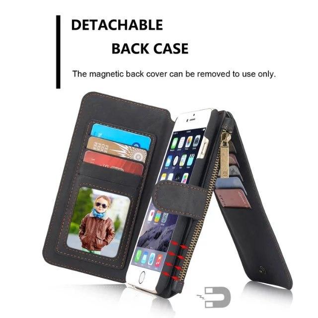 bilder für CaseMe marke 007 design, Multifunktionale Reißverschluss Leder Geldbörse Fall für iphone 7 iphone 7 plus iphone 5 5 S 6 s 6 s plus