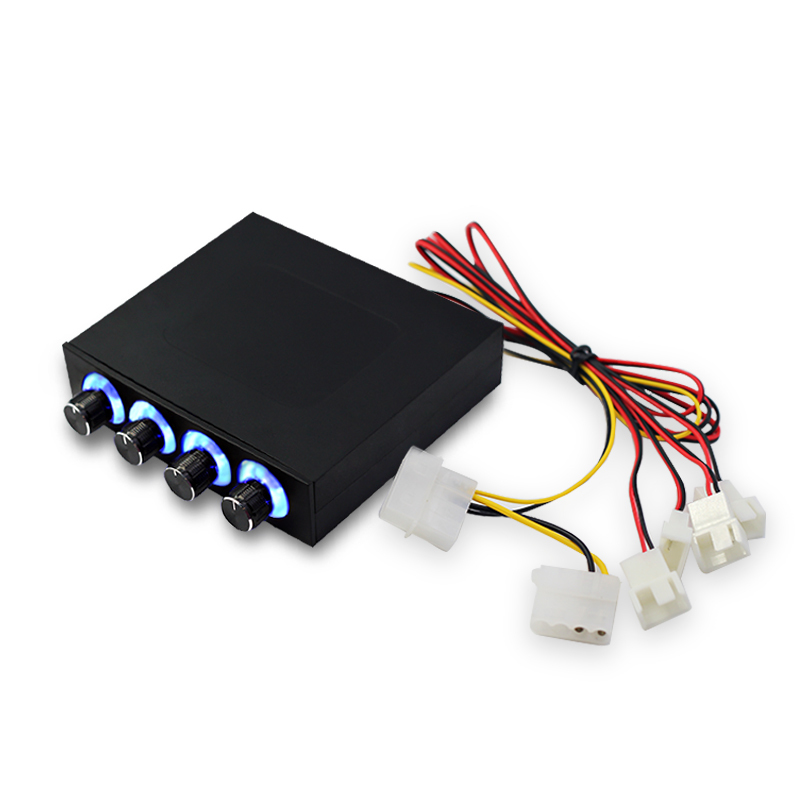 New 4 Channel Speed Fan Controller With Blue/Red LED  Computer Case CPU Fan Speed Controller PWM