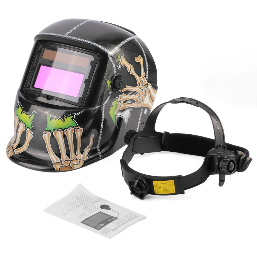цена на Skull Pattern Solar Powered Auto-darkening Welding Helmet Welding Face Mask Arc Tig Mig Mask Grinding Welding Mask/Welding Cap